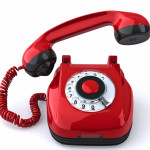 Red retro-styled telephone. Hang up!
